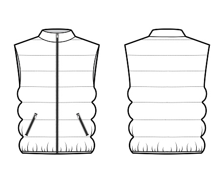 Down vest puffer waistcoat technical fashion illustration with sleeveless, collar, zip-up closure, pockets, oversized