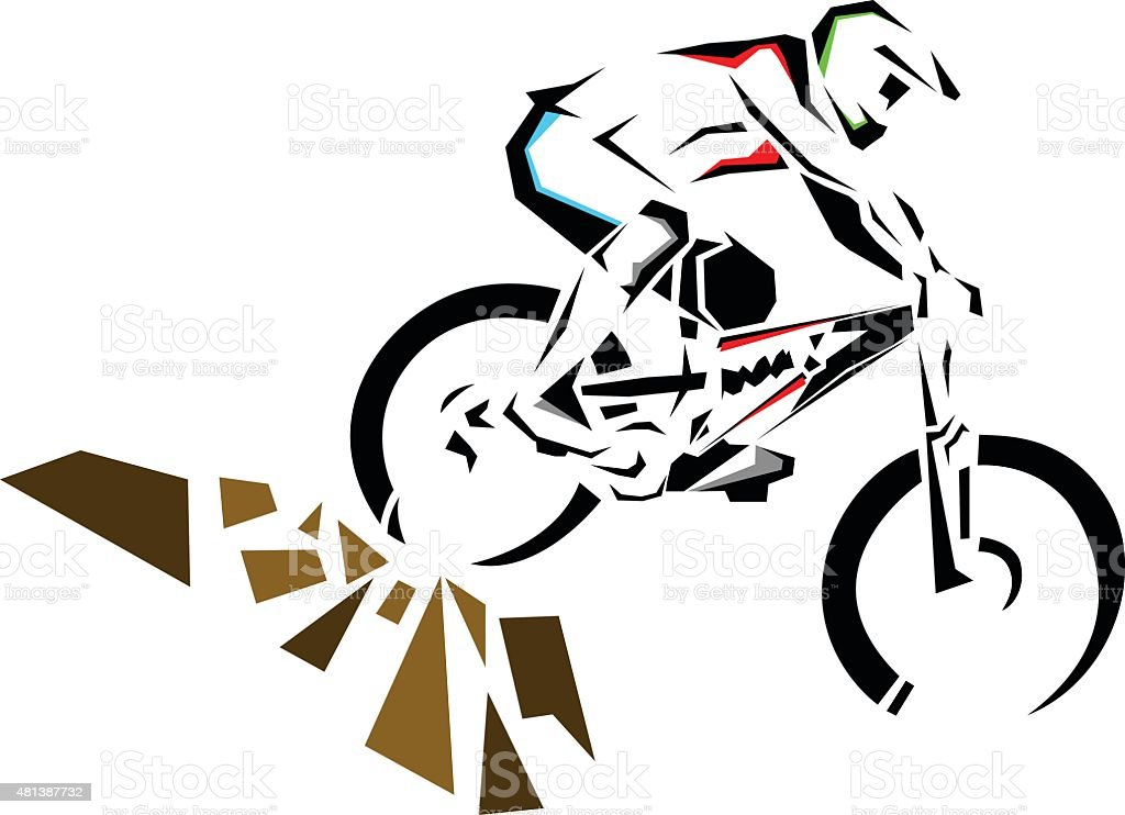 Downhill mountain biker riding down the rocks. - Royalty-free 2015 stock vector