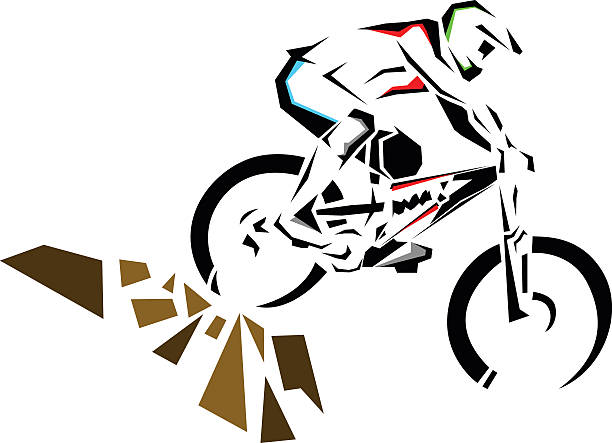 Downhill mountain biker riding down the rocks. vector art illustration