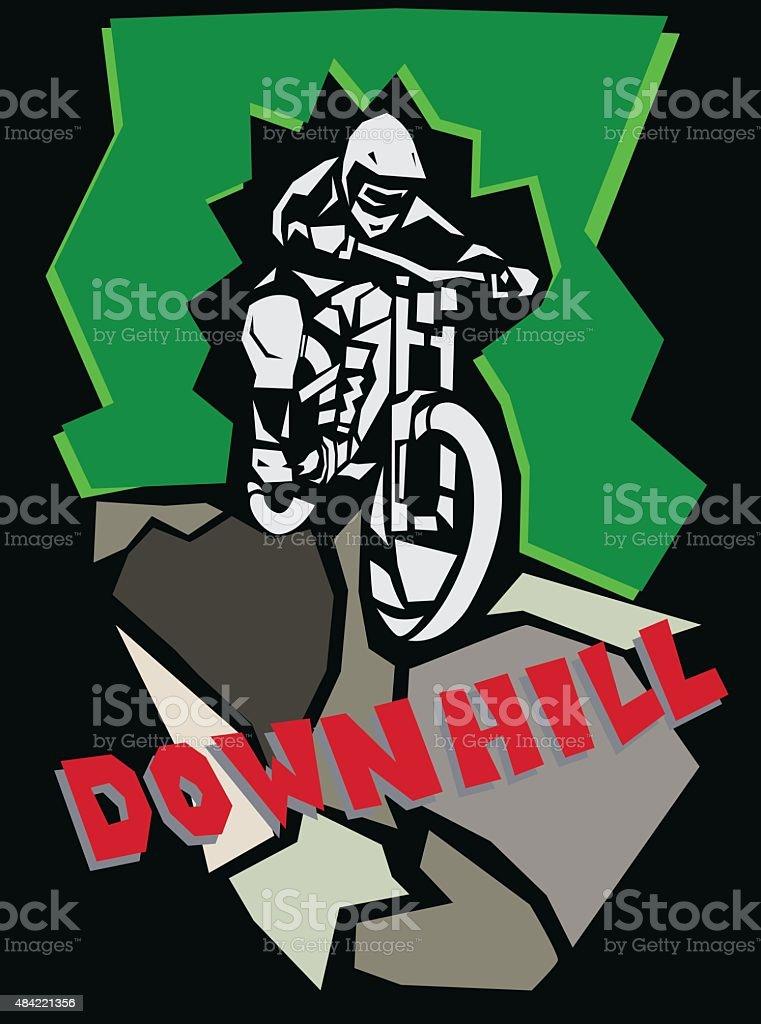 Downhill mountain biking poster. vector art illustration