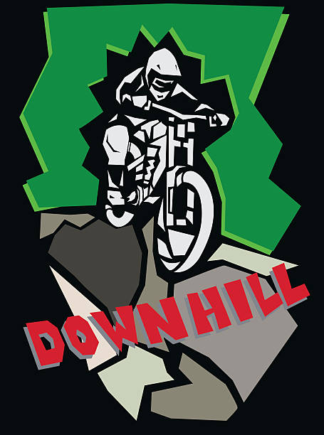 Downhill mountain biking poster. vector art illustration