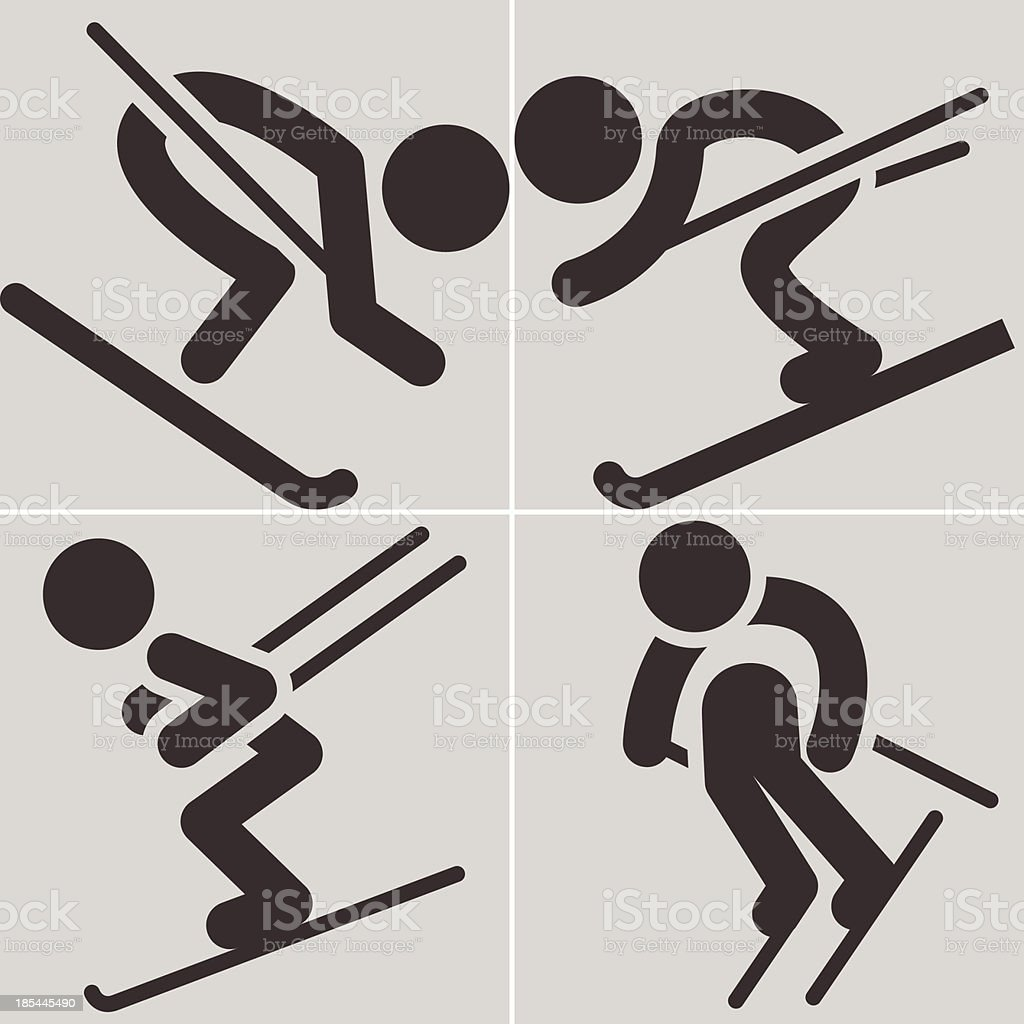 Downhill skiing icons royalty-free stock vector art