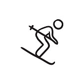 Downhill skiing sketch icon