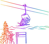 A chairlift carrying three people