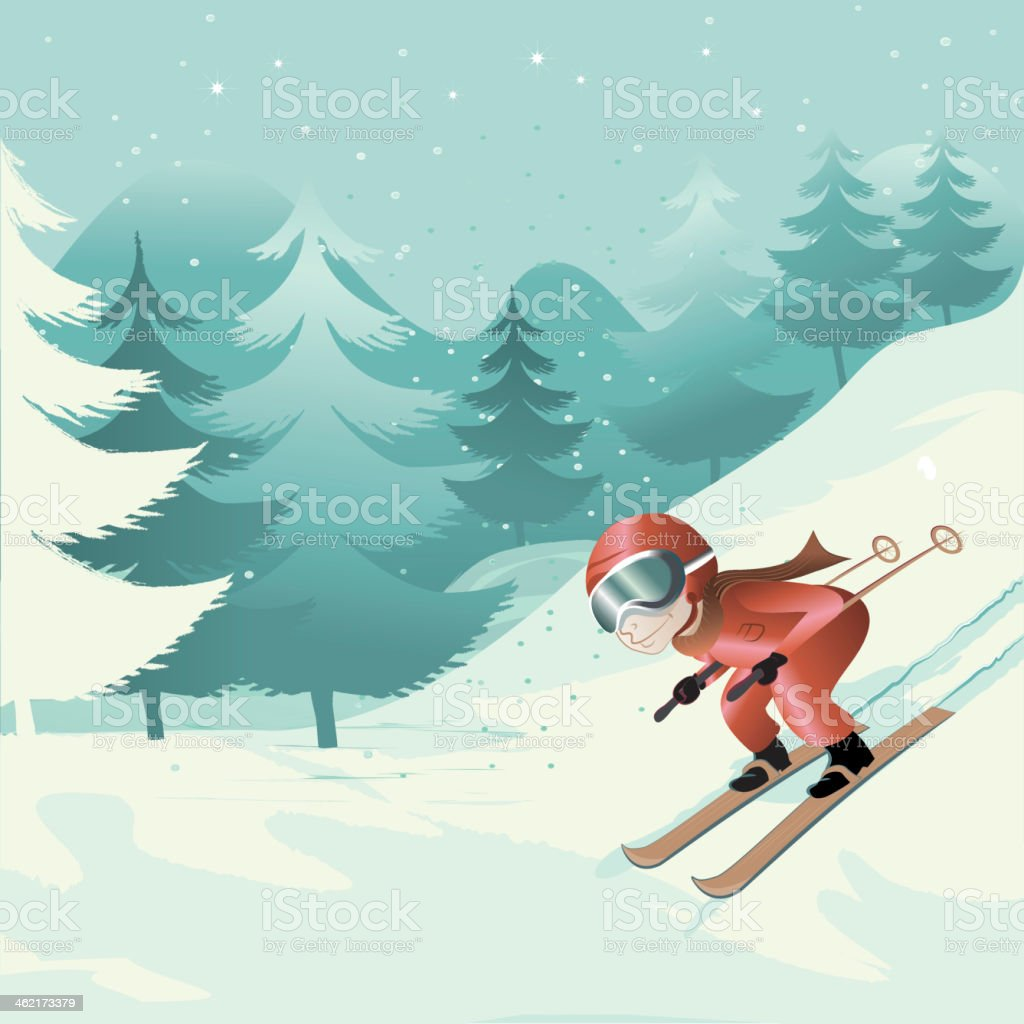 downhill skiing royalty-free stock vector art