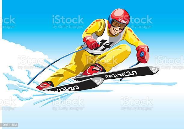 Downhiller Yellow-vektorgrafik och fler bilder på Alperna