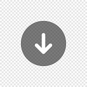 Download arrow icon on transparent background. Down circle app button. Upload web symbol in vector flat style.