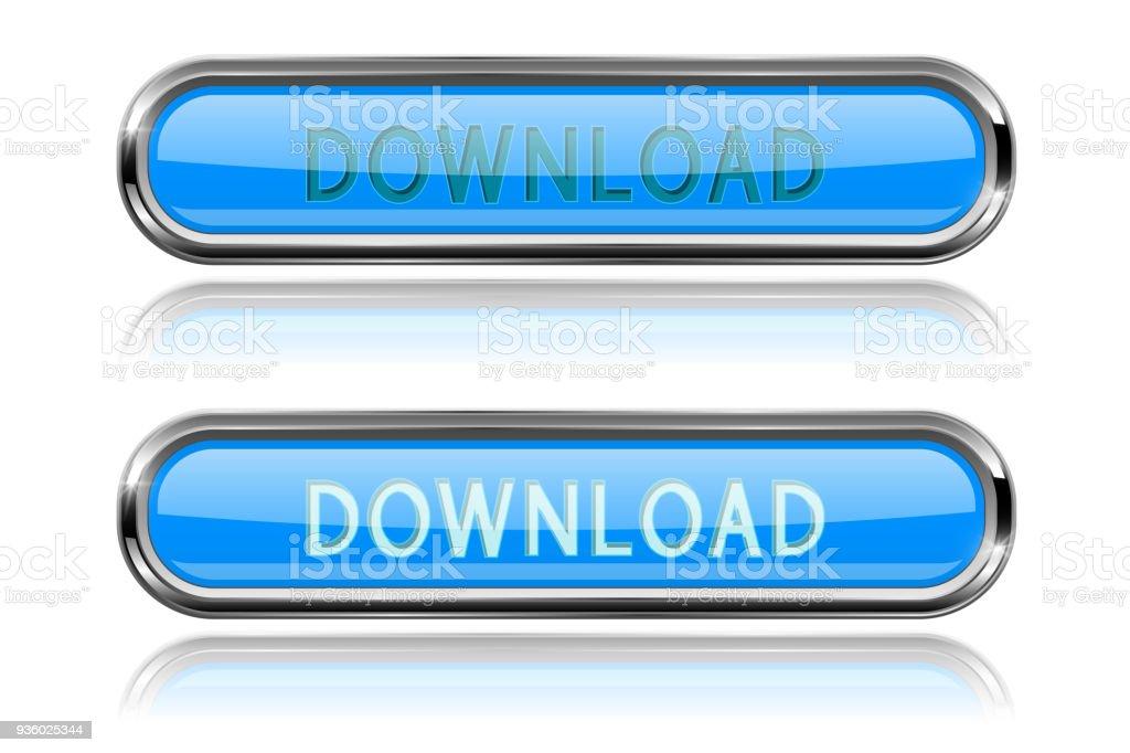 Descargar Botones De Cristal Azul Con Marco De Cromo Iconos 3d ...