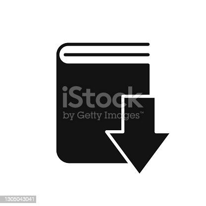 istock Download book black icon. linear style sign for mobile concept and web design. 1305043041