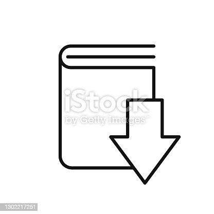 istock Download book line icon. linear style sign for mobile concept and web design. 1302217251