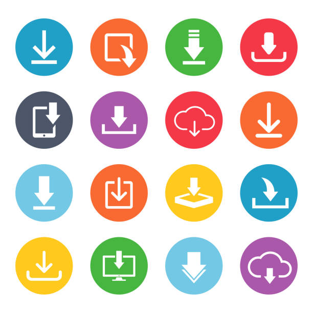 Download button icon set Download button icon set. Cute and fancy image for web users for computer data. Vector flat style illustration isolated on white background loading stock illustrations