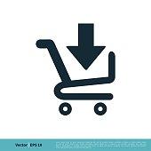 istock Download Cart Trolley Icon Vector Logo Template Illustration Design. Vector EPS 10. 1253589133