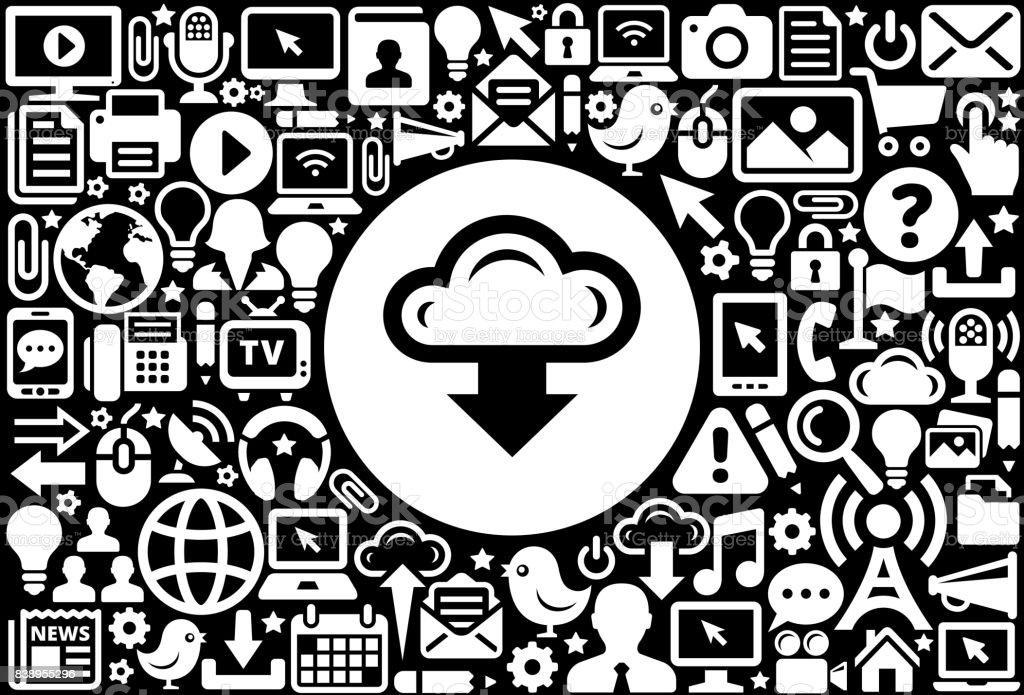 f7493c1ef0714 Descargar fondo de tecnología de Internet de nube icono blanco y negro  ilustración de descargar fondo