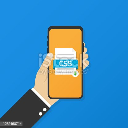 Download CSS button on smartphone screen. Downloading document concept. File with CSS label and down arrow sign. Vector stock illustration.
