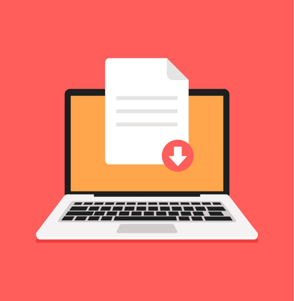 stockillustraties, clipart, cartoons en iconen met download document bestand pdf zip plaat knop computer laptop pc. element concept downloaden - dossier