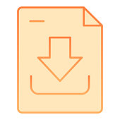 Download document flat icon. Downloading file vector illustration isolated on white. Save file gradient style design, designed for web and app. Eps 10