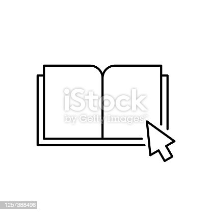 istock Download e book line icon. An open book with mouse cursor arrow. Electronic books on the internet concept. 1257388496