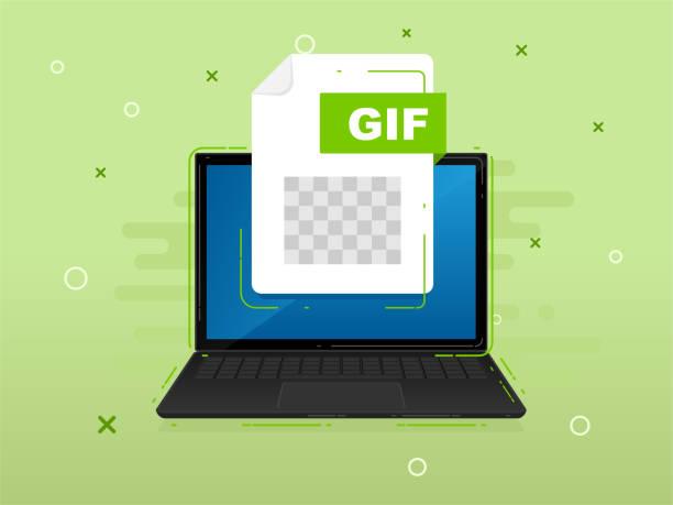 下載筆記本電腦螢幕上帶有標籤的檔。下載文檔概念。用於商業、行銷和廣告的橫幅。 - gif 幅插畫檔、美工圖案、卡通及圖標