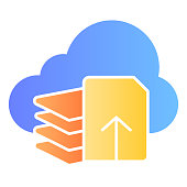Download files flat icon. Document download color icons in trendy flat style. List and cloud gradient style design, designed for web and app. Eps 10