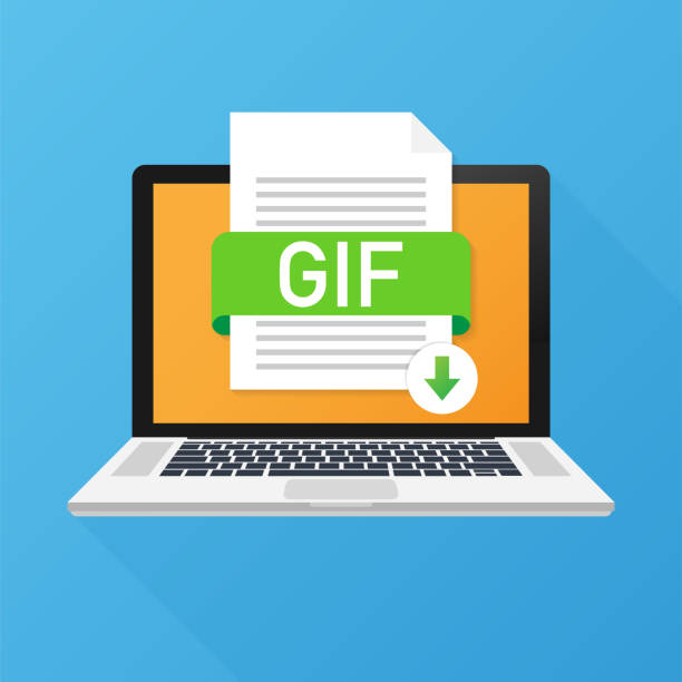 在筆記本電腦螢幕上下載 gif 按鈕。下載文檔概念。帶有 gif 標籤和向下箭頭符號的檔。 - gif 幅插畫檔、美工圖案、卡通及圖標