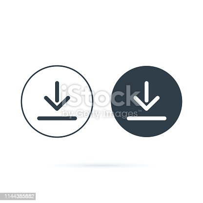 Download icon. Downloading vector icon. Save to computer symbol, Solid and line icons set for upload option. Arrow down button, save from internet buttons for browser or app. Navigation ui, ux
