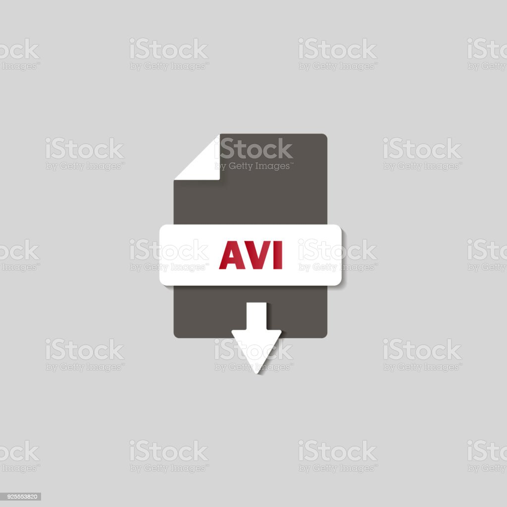 AVI download icon on background. AVI button . vector art illustration