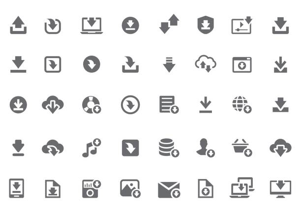 Download icon set Download icon set loading stock illustrations