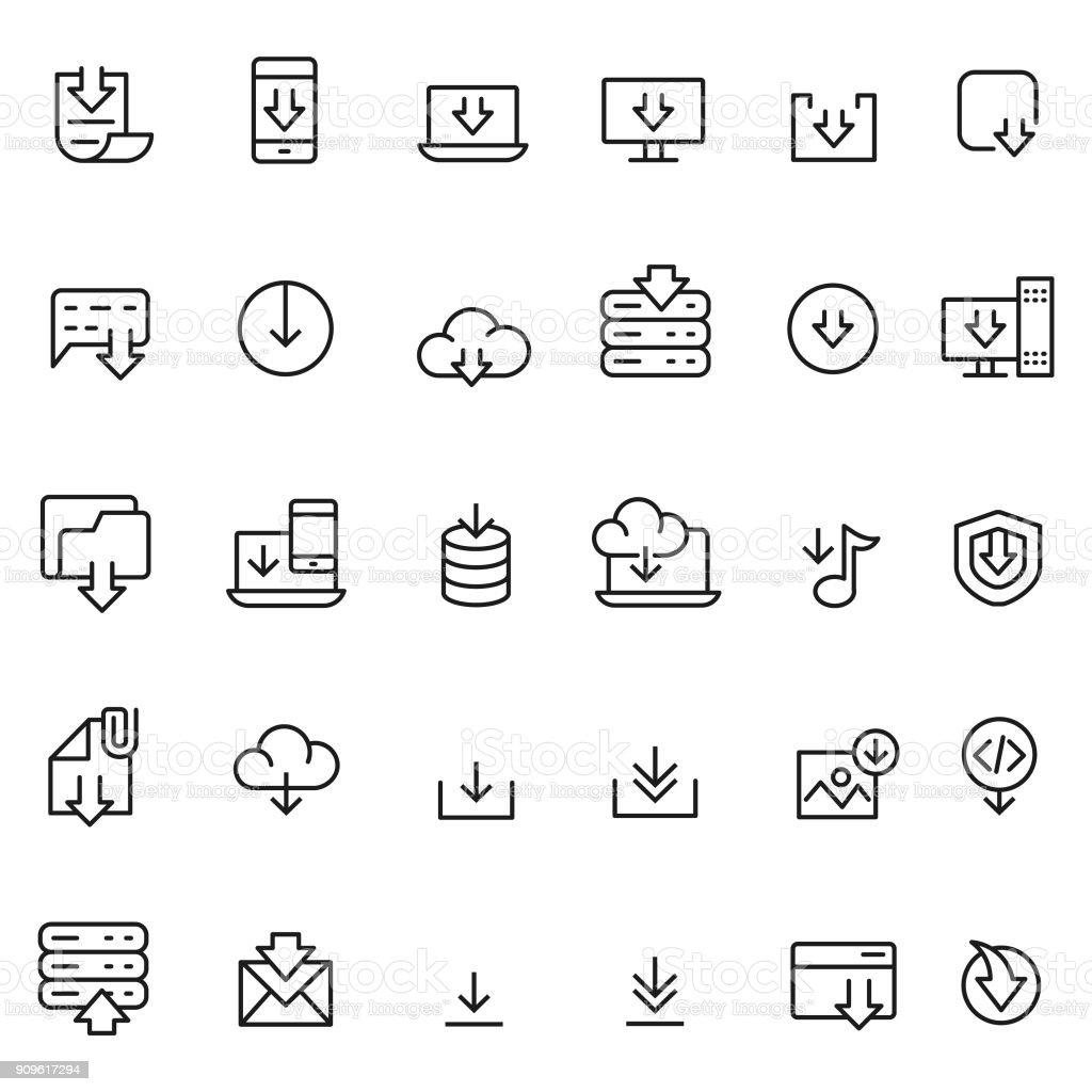 Download icon set vector art illustration