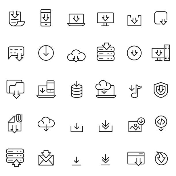 download icon set - app stock illustrations