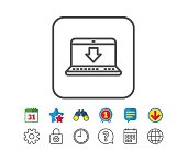 Download line icon. Internet Downloading sign.