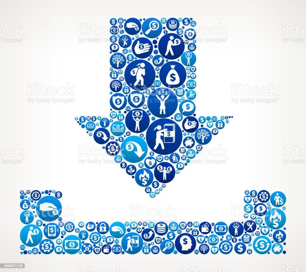 Descargar dinero icono azul de fondo - arte vectorial de Actividades bancarias libre de derechos
