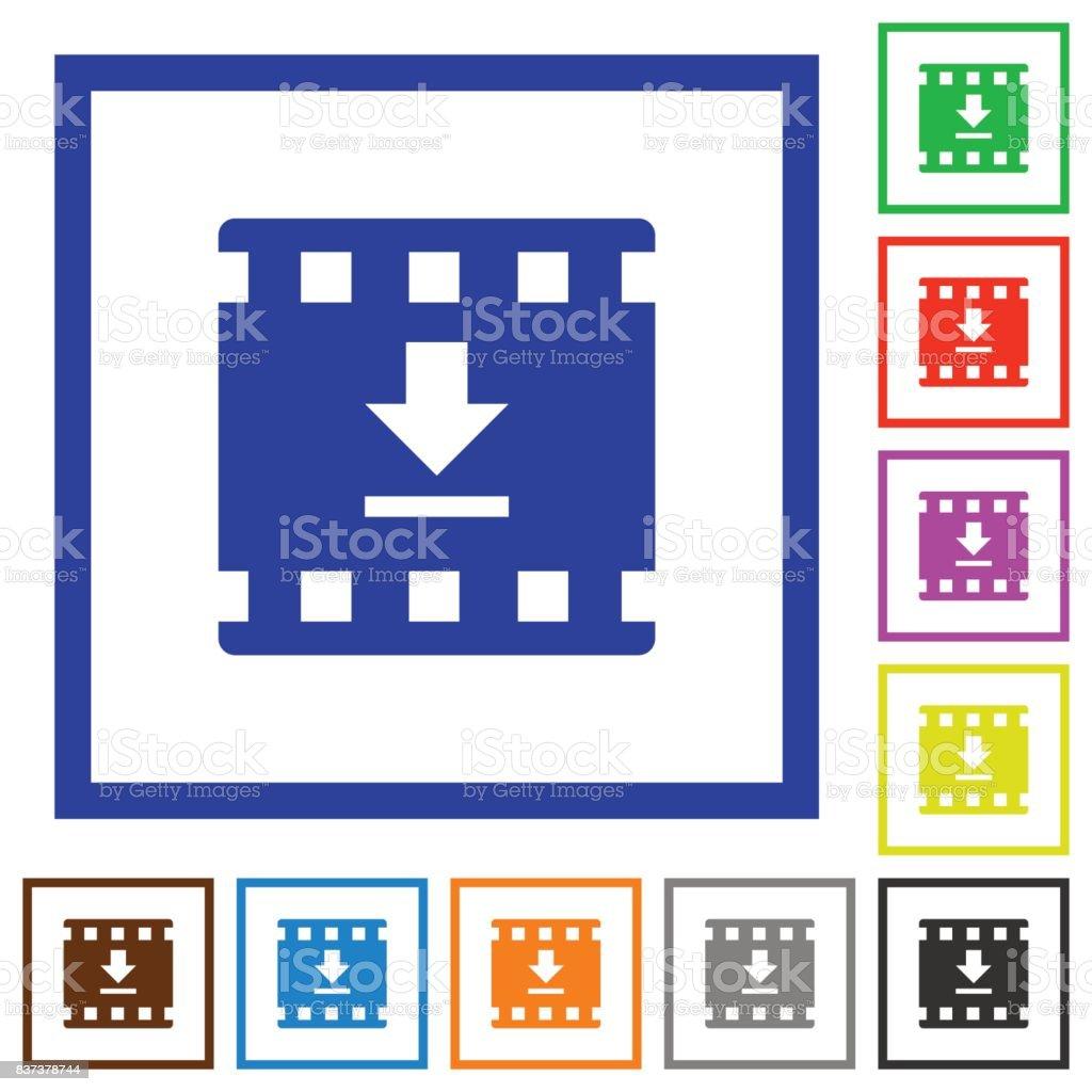 Ilustración de Descargar Película Plano Enmarcado Icons y más banco ...