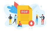 istock Download PDF file. Group of people with PDF document and download button. Modern flat design. Vector illustration 1289791880