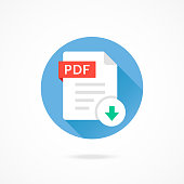 Download PDF icon. Download document. PDF format type, file extension. Vector round icon with long shadow design