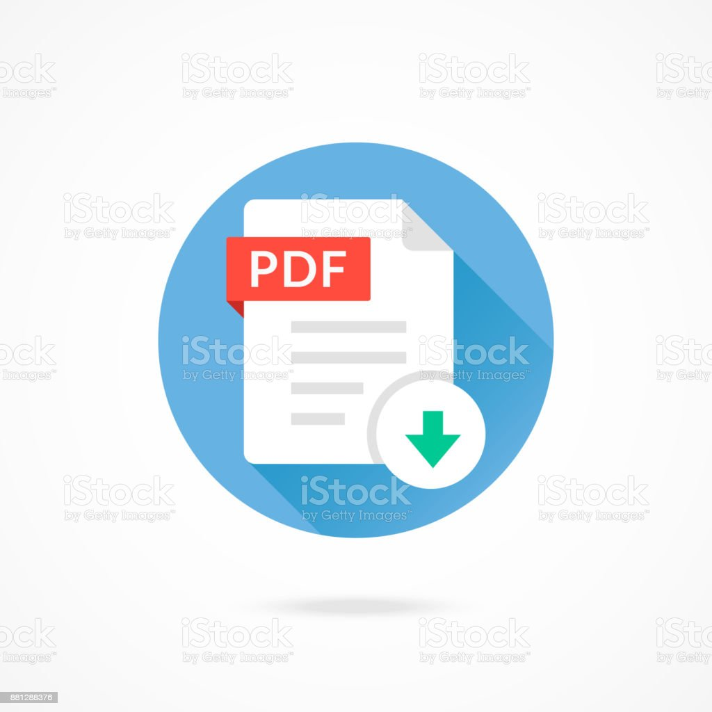 Download PDF icon. Download document. PDF format type, file extension. Vector round icon with long shadow design vector art illustration