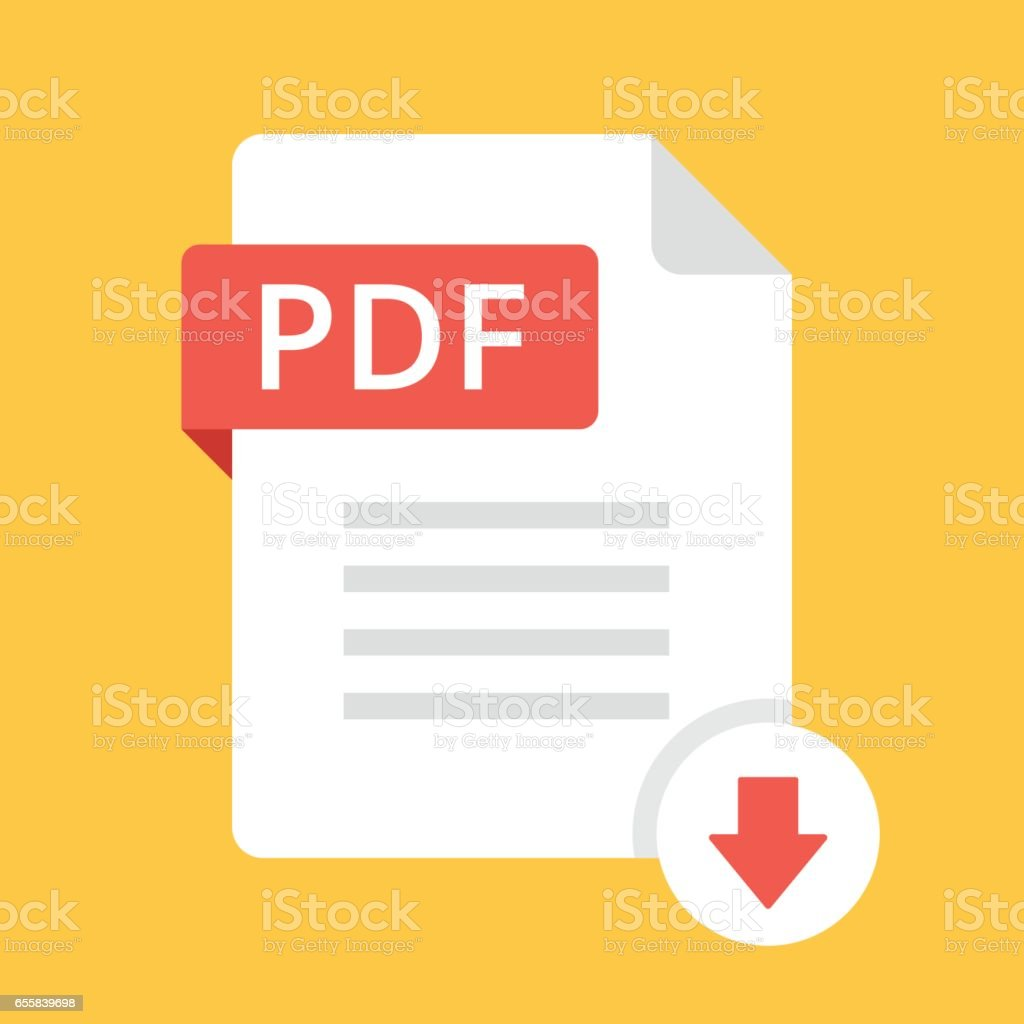 Download PDF icon. File with PDF label and down arrow sign. Downloading document concept. Flat design vector icon vector art illustration