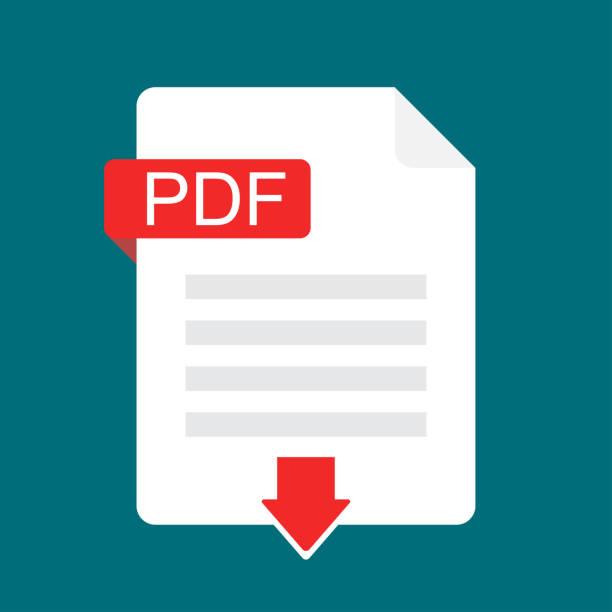 Descargar icono de PDF. Archivos con la etiqueta del PDF y abajo el signo de flecha. Concepto de documento para descargar. Icono de vector de diseño plano - ilustración de arte vectorial
