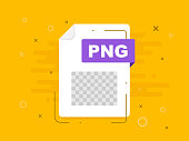 Download PNG icon file with label. Downloading document concept. Banner for business, marketing and advertising. Vector Illustration.