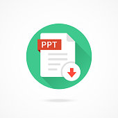Download PPT icon. Download document. PPT format type, file extension. Vector round icon with long shadow design