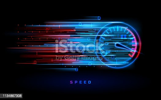 istock Download progress bar or round indicator of speed 1134867308