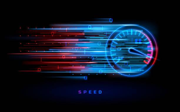 stockillustraties, clipart, cartoons en iconen met download voortgangsbalk of ronde indicator van de snelheid - motorvoertuig