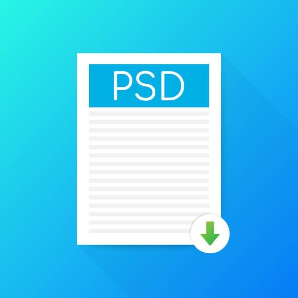 Download PSD-knop. Downloaden document concept. Bestand met PSD label en omlaag pijl teken. Vectorillustratie.vectorkunst illustratie