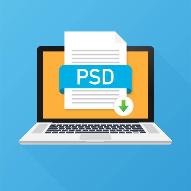 Download PSD-knop op het scherm van de laptop. Downloaden document concept. Bestand met PSD label en omlaag pijl teken. Vectorillustratie.vectorkunst illustratie