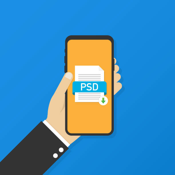 Download PSD-knop op het scherm van de smartphone. Downloaden document concept. Bestand met PSD label en omlaag pijl tekenvectorkunst illustratie