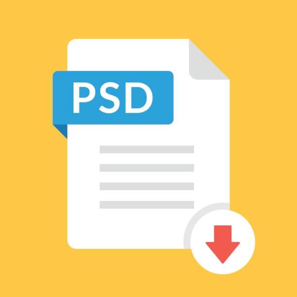 Download PSD-pictogram. Bestand met PSD label en omlaag pijl teken. Het downloaden van bestand concept. Platte ontwerp vector pictogramvectorkunst illustratie