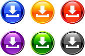 download/save icon/button set in 6 colors