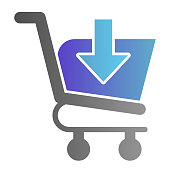 Download shopping cart flat icon. Shopping trolley with arrow vector illustration isolated on white. Market cart with save button gradient style design, designed for web and app. Eps10