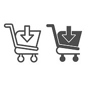 Download shopping cart line and glyph icon. Market trolley with save button, arrow sign. Commerce vector design concept, outline style pictogram on white background, use for web and app. Eps 10