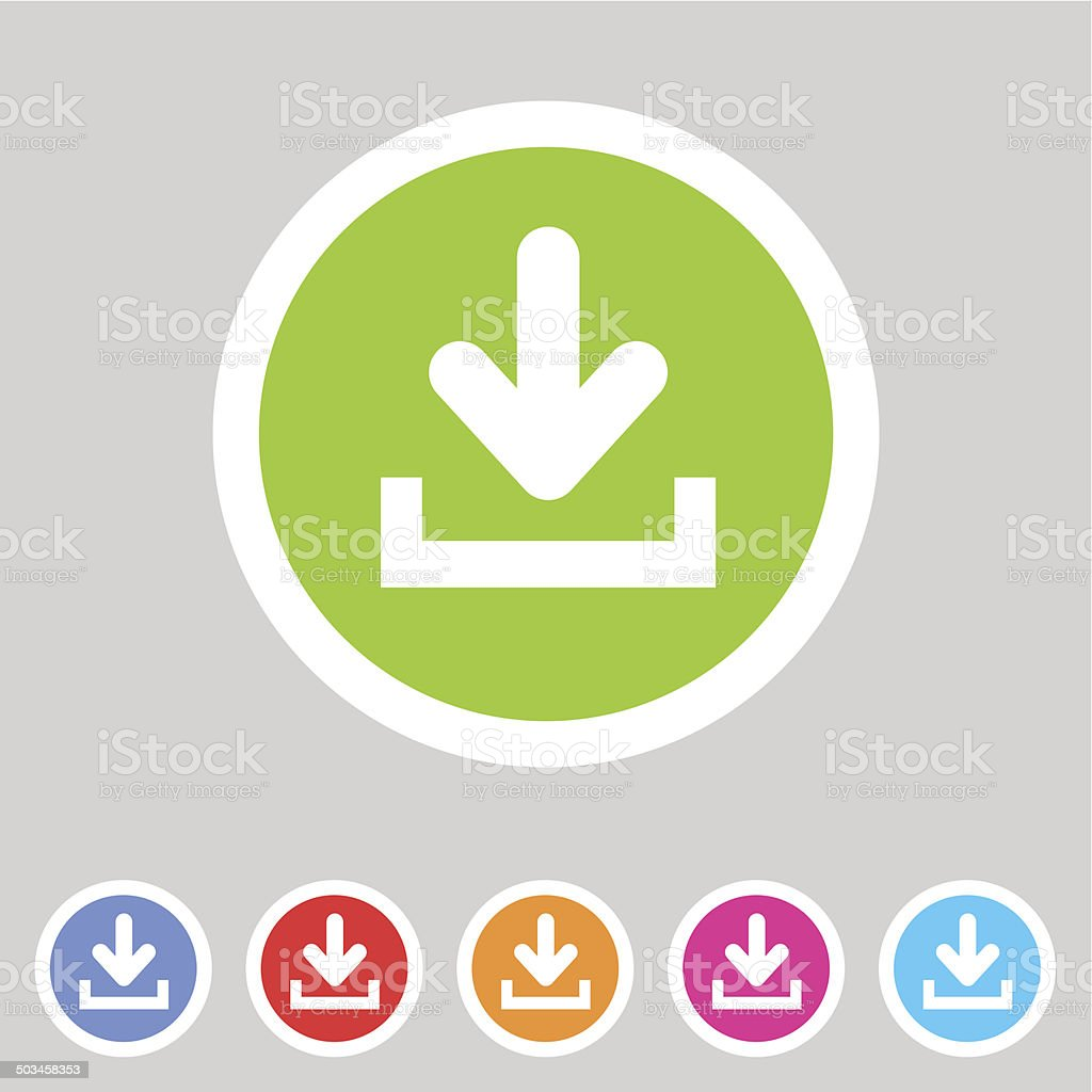 Download upload flat icon, button set, load symbol vector art illustration
