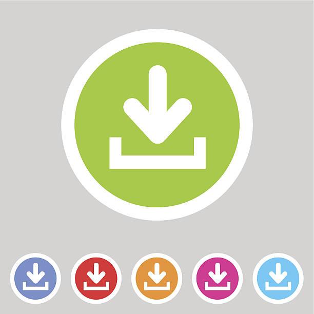 Download upload flat icon, button set, load symbol vector art illustration